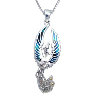 Sterling Silver Flying Phoenix Fire Bird Paua Shell Wings Necklace
