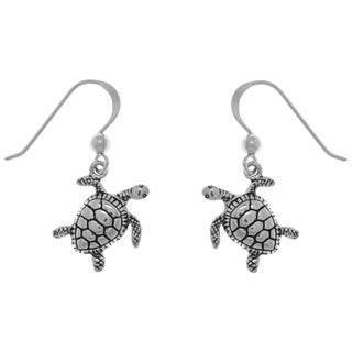 Carolina Glamour Collection Sterling Silver Turtle Dangle Earrings
