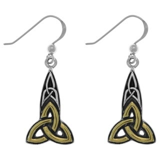 Carolina Glamour Collection Sterling Silver and Goldplated Celtic Trinity Knot Dangle Earrings