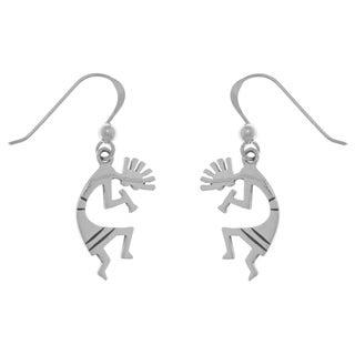 Sterling Silver Dancing Kokopelli Southwestern Design Dangle Earrings