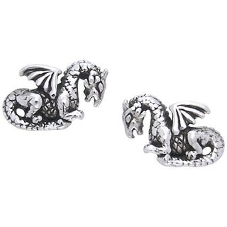 Carolina Glamour Collection Sterling Silver Petite Winged Dragon Post Earrings