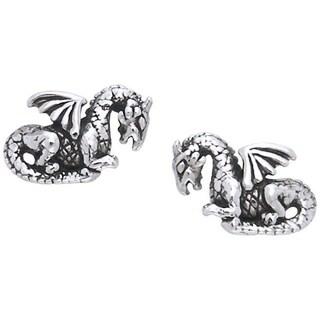 Sterling Silver Petite Winged Dragon Post Earrings