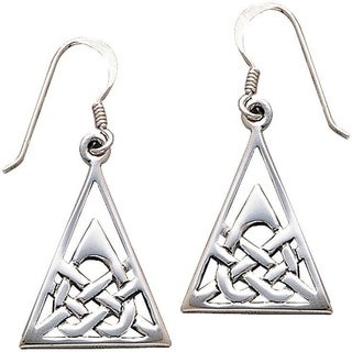 Carolina Glamour Collection Sterling Silver Celtic Heart and Triangle Knot Work Dangle Earrings