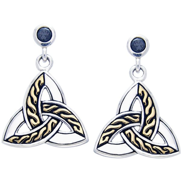 0d443bf49 Shop Sterling Silver and Goldplated Celtic Trinity Knot Black Cubic Zirconia  Post Dangle Earrings - Free Shipping Today - Overstock.com - 10059784