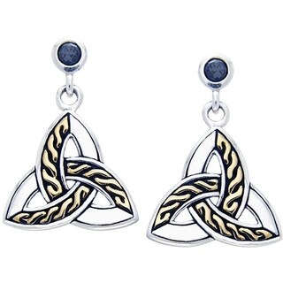 Sterling Silver and Goldplated Celtic Trinity Knot Black Cubic Zirconia Post Dangle Earrings