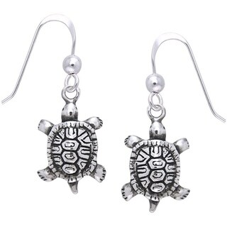 Carolina Glamour Collection Sterling Silver Diamondback Turtle Dangle Earrings