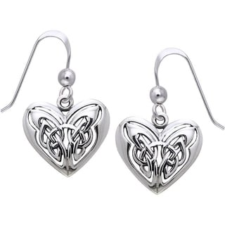 Carolina Glamour Collection Sterling Silver Celtic Eternal Love Heart Knot Work Dangle Earrings