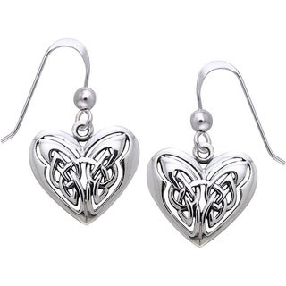 Sterling Silver Celtic Eternal Love Heart Knot Work Dangle Earrings