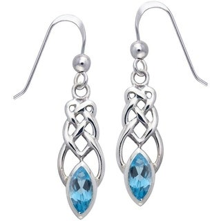 Carolina Glamour Collection Sterling Silver Blue Topaz Celtic Linear Knot Work Dangle Earrings