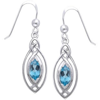 Sterling Silver Celtic Oval Knot Work Blue Topaz Dangle Earrings