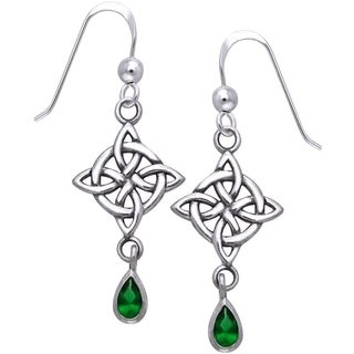 Sterling Silver Gemstone Celtic Luck Knot Work Dangle Earrings