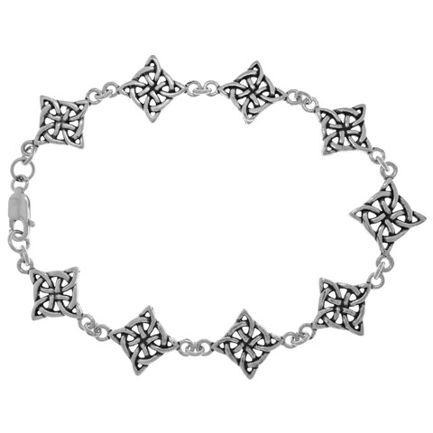 Sterling Silver Celtic 4-point Quaternary Knot Good Luck Bracelet