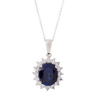 10k White Gold Blue and White Sapphire Necklace