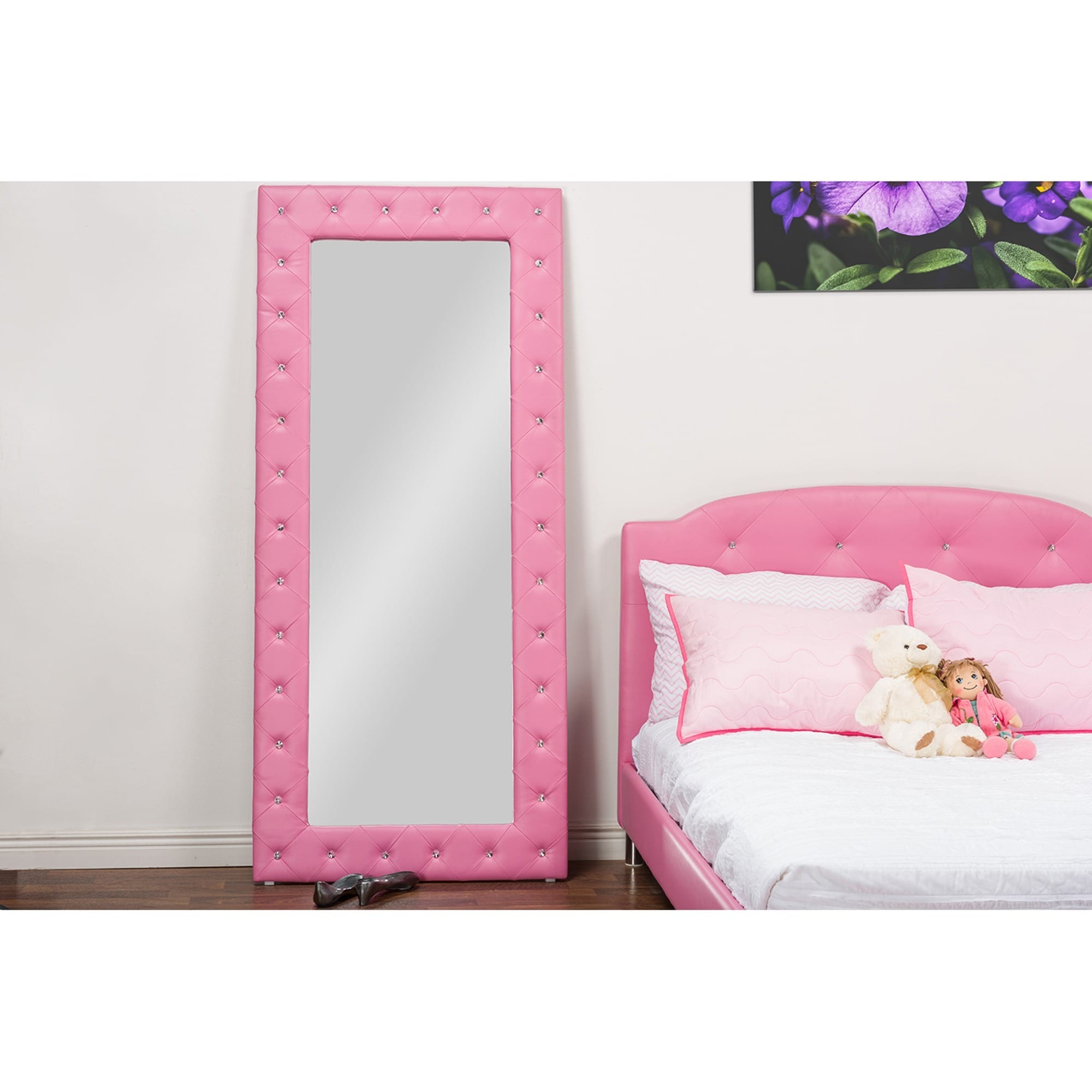 Baxton Studio Stella Modern Crystal Tufted Pink Faux Leather Floor ...
