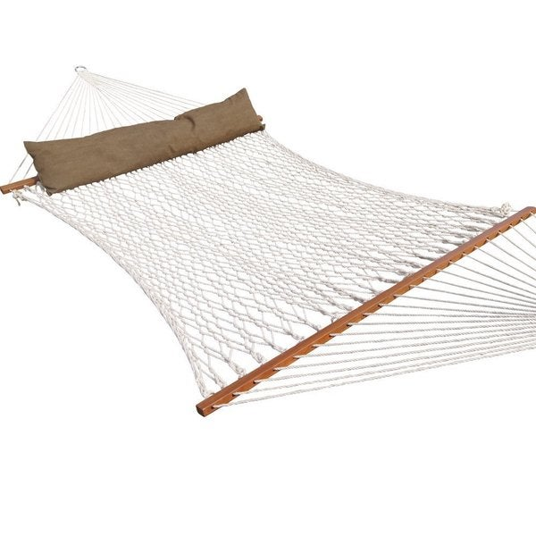 prime garden deluxe cotton rope hammock with hardwood spreader bars prime garden deluxe cotton rope hammock with hardwood spreader      rh   overstock