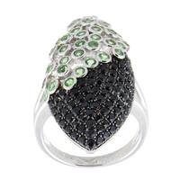 Pinctore Sterling Silver Tsavorite and Black Spinel Elongated Ring