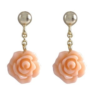 Luxiro Goldtone Sterling Silver Dangling Rose Earrings