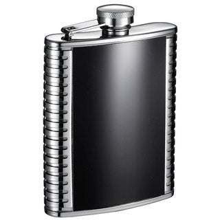 Visol Astaire Black and Stainless Steel 6-ounce Liquor Flask