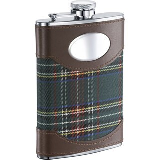 Visol Edinburgh Leather and Green Plaid 8-ounce Liquor Flask