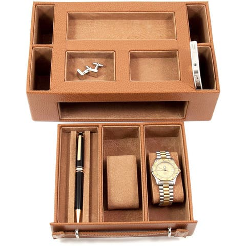 Bey Berk 'Darren' Leather Multi-Compartment Watch Valet
