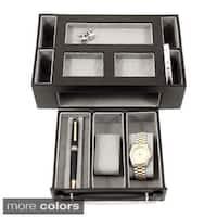 Bey Berk 'Darren' Leather Multi-Compartment Watch Valet