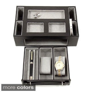 Bey Berk 'Darren' Leather Multi-Compartment Watch Valet (Option: Tan)