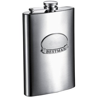 Visol Best Man Ribbon Brushed Stainless Steel 6-ounce Liquor Flask - Silver