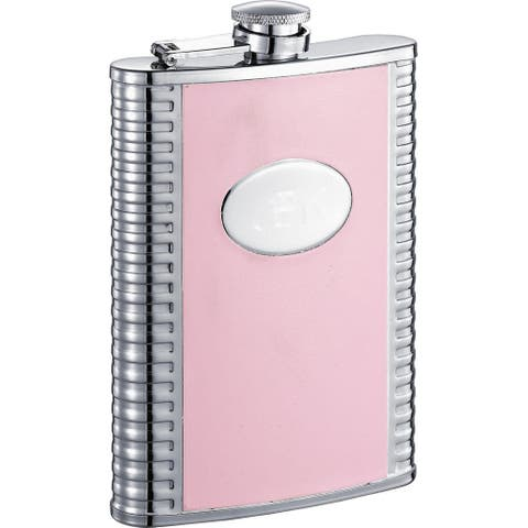 Visol Supermodel Pink and Stainless Steel 8-ounce Liquor Flask
