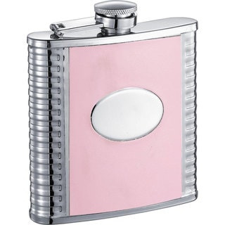 Visol Supermodel Pink and Stainless Steel 6-ounce Liquor Flask