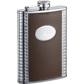 Visol Tux Deux Brown and Stainless Steel 8-ounce Liquor Flask