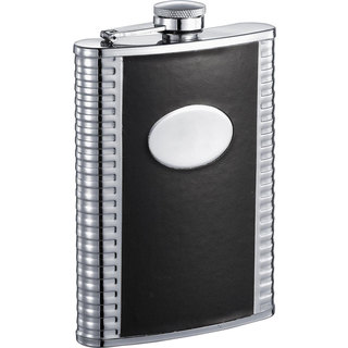 Visol Tux Deux Black and Stainless Steel 8-ounce Liquor Flask