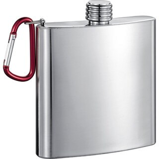Visol Carabineer Stainless Steel 6-ounce Liquor Flask - Silver