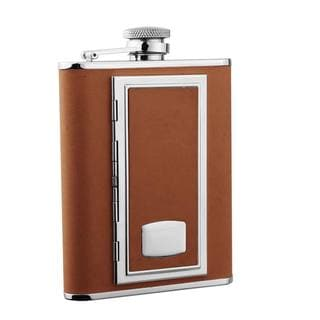 Visol SP Brown Leatherette 6-ounce Liquor Flask with Built-in Cigarette Case