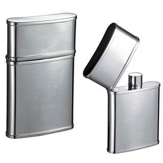 Visol Flip Top Mirror Stainless Steel 2.5-ounce Liquor Flask