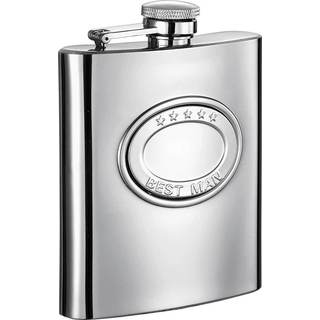 Visol 5 Stars Best Man Embossed Stainless Steel 8-ounce Liquor Flask