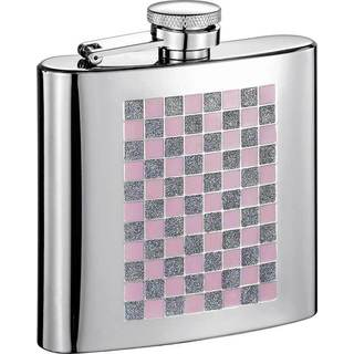 Visol Pink and Sparkles Checkered Stainless Steel 6-ounce Liquor Flask