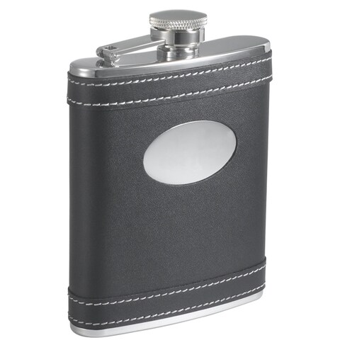 Visol Marlon Black Leather 6-ounce Liquor Flask