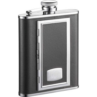 Visol SP Black with Built-In Cigarette Case 6-ounce Liquor Flask