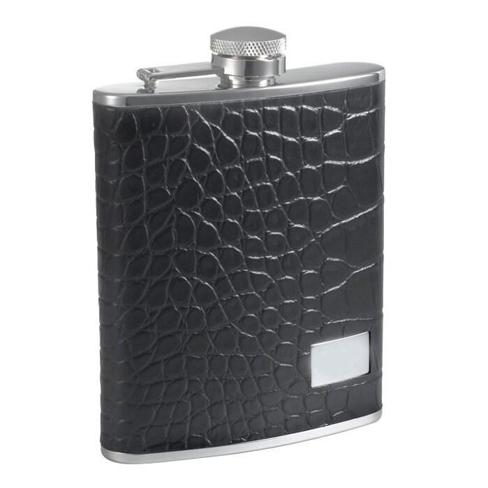 Visol Gator Black Crocodile Leather 6-ounce Liquor Flask ...