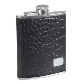 Visol Gator Black Crocodile Leather 6-ounce Liquor Flask