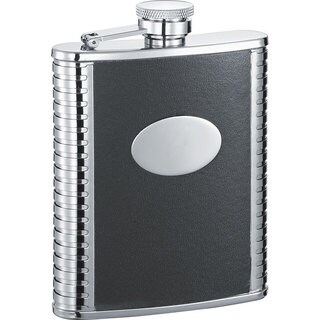 Visol Tux Black Leather and Stainless Steel 6-ounce Liquor Flask