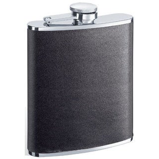 Visol Ano Black Leather 6-ounce Liquor Flask