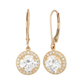 Link to 10k Gold Round Halo CZ Leverback Earrings Similar Items in Earrings