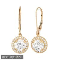 10k Gold Round Halo CZ Leverback Earrings