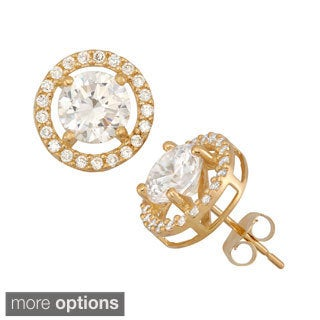 10K Yellow or White Gold 6mm CZ Halo Stud Earrings