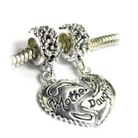 Queenberry Sterling Silver Mother/ Daughter Heart Dangle European Bead Charm