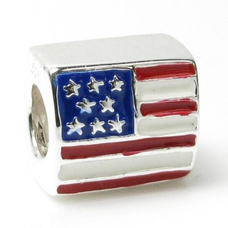 Queenberry Sterling Silver USA Flag Enamel European Bead Charm