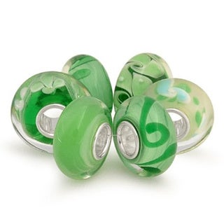 Queenberry Sterling Silver Assorted Green Swirl Lampwork Glass 6-piece European Bead Charm