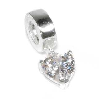 Queenberry Sterling Silver Cubiz Zirconia Heart Dangle European Bead Charm