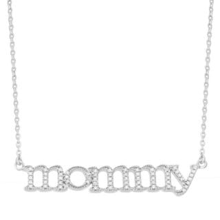 Sterling Silver 1/6ct TDW Diamond 'Mommy' Necklace (I-J, I3)